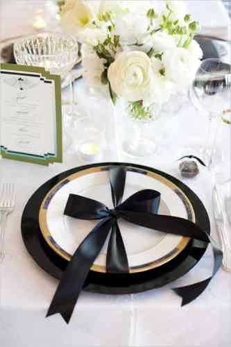 decoracion de mesa en negro