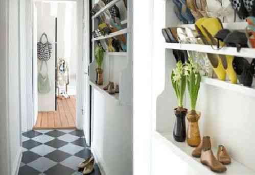 almacenar zapatos en la entrada de forma original