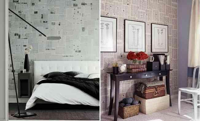 Idea empapela con peri dicos for Papel para tapizar paredes