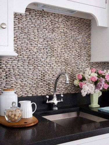 decorar pared de cocina con piedra