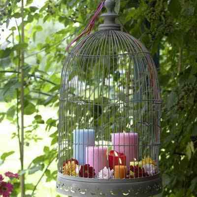 decoracion de jaula con velas