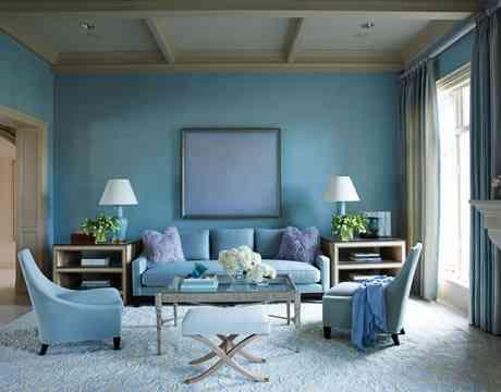 decorar un salón azul