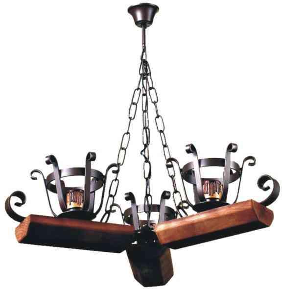 lampara de forja con madera