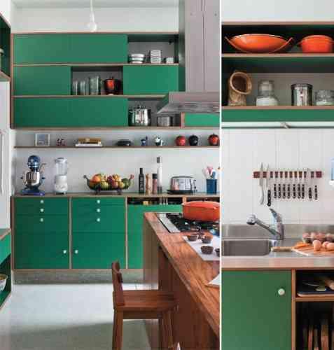Decoración de cocinas 2013 verde esmeralda