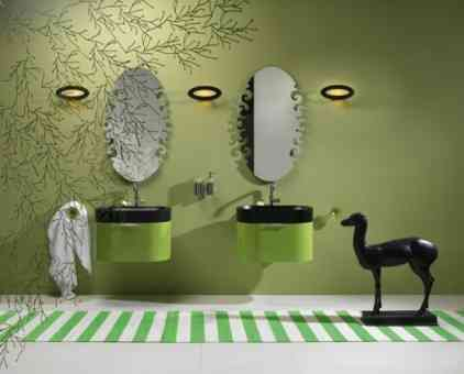 baño en color verde