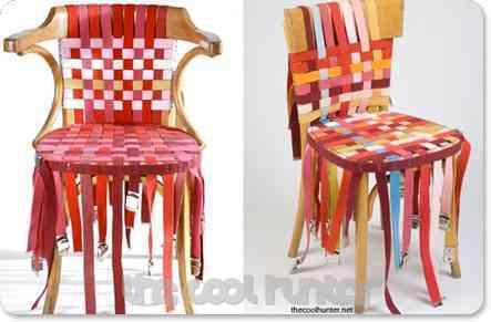 silla tapizada con cinturones