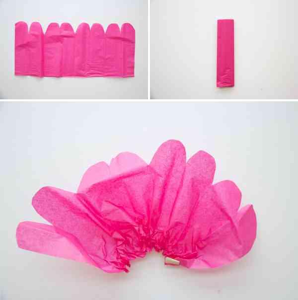 Manualidad flor de papel tisu