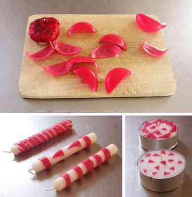 solo tienes que cortar la corteza como ms te guste en esta ocasin se ven varias velas largas y delgadas decoradas con la corteza contorneando sus - Velas Decoradas
