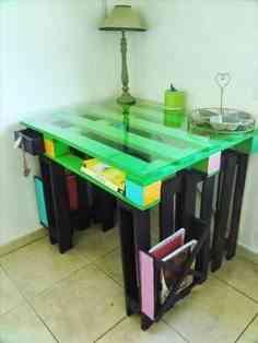 mesa de palets y cristal