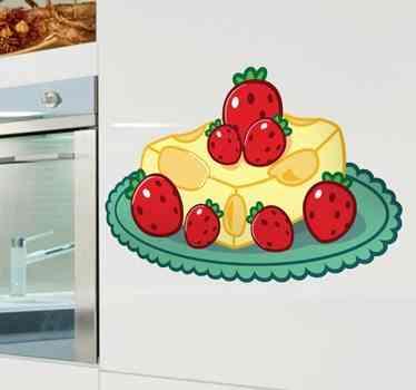 vinilo decorativo tarta queso y fresas
