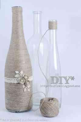 botellas forradas de hilo