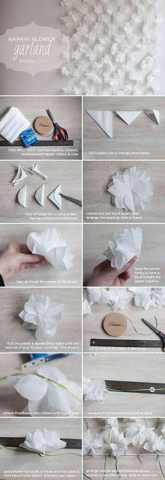 tutorial de cómo hacer flores con servilletas