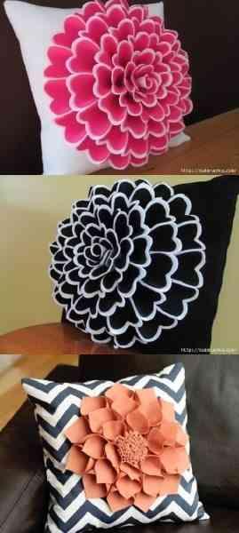 Hacer Cojines Fieltro.Como Hacer Flores De Fieltro Para Decorar Un Cojin