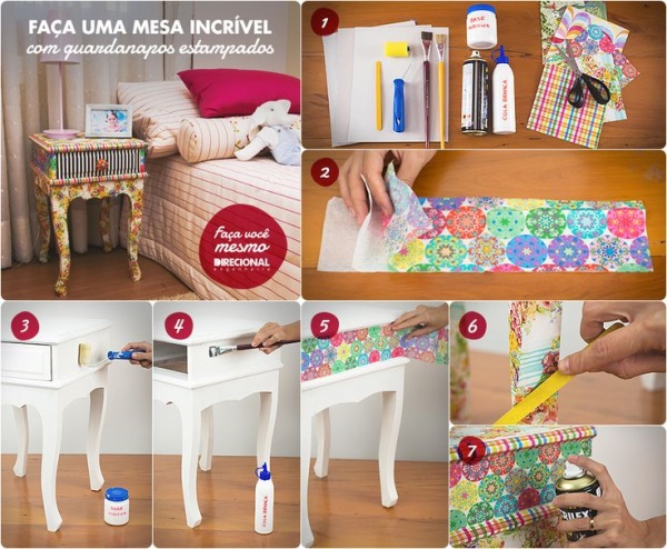 Renovar la mesita de noche con decoupage for Ideas para restaurar muebles
