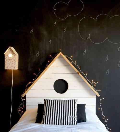 cabecero de cama en forma de casa