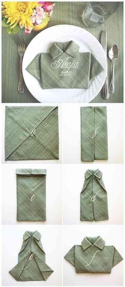 origami en una servilleta de tela