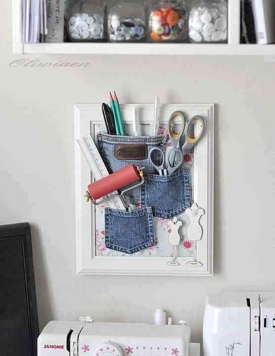 Manualidades con cuadros y bolsillos vaqueros