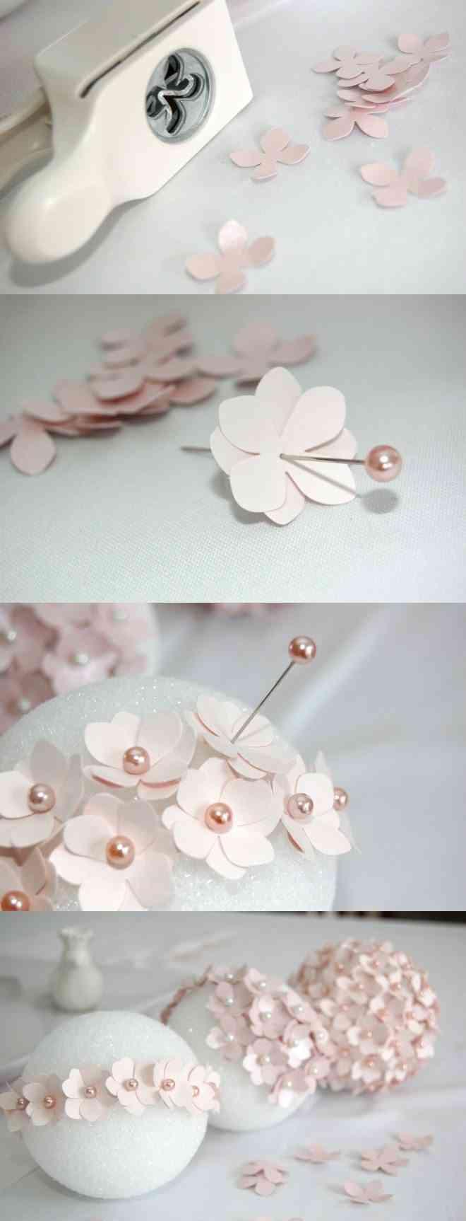 decoracion primera comunion con flores de papel
