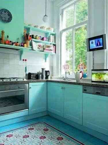 decorar cocinas en turquesa