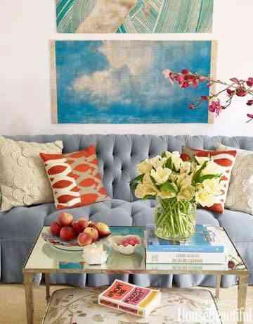 decoracion-combinacion de colores - sofa y cojines