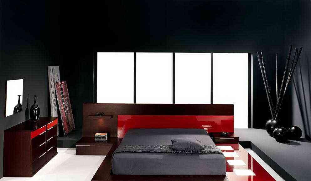 dormitorio en gris y rojo