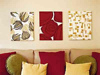 pared decorada con tela