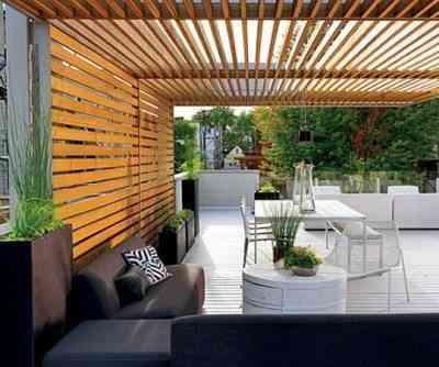 terraza revestida en madera