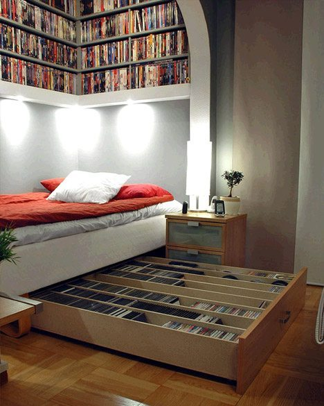 ahorrar espacio - guardar libros - bajo la cama