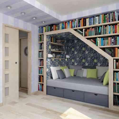 ahorrar espacio - guardar libros - cama rodeada de libros