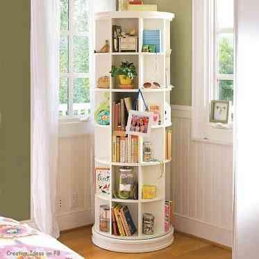 ahorrar espacio - guardar libros - estantería circular
