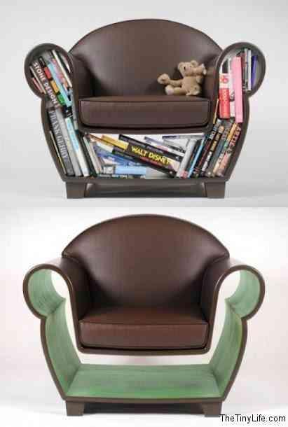 ahorrar espacio - guardar libros - sillon