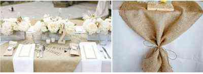 mesa con mantel de tela de saco