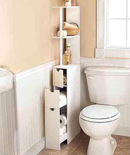 mueble estrecho para aprovechar espacio del baño