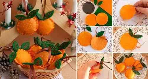 Idea para decorar con naranjas hechas en fieltro for Frutas ornamentales