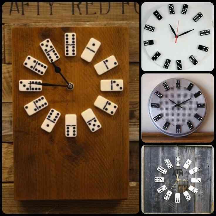 Decoraci n de pared reloj con fichas de domin Relojes de decoracion