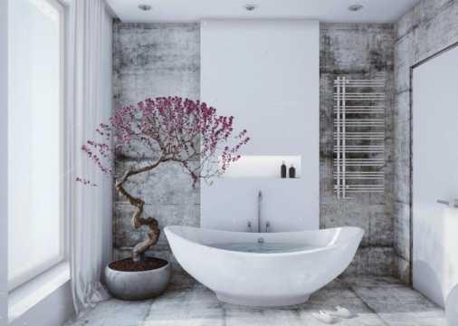 decorar el baño con un arbol