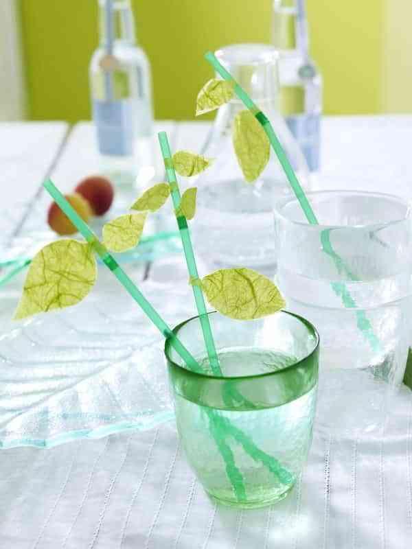 Ideas para decorar los vasos de fiesta - hojas