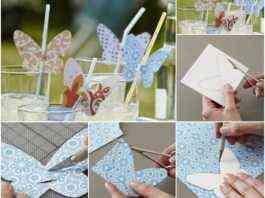 mariposas de papel para decorar vasos