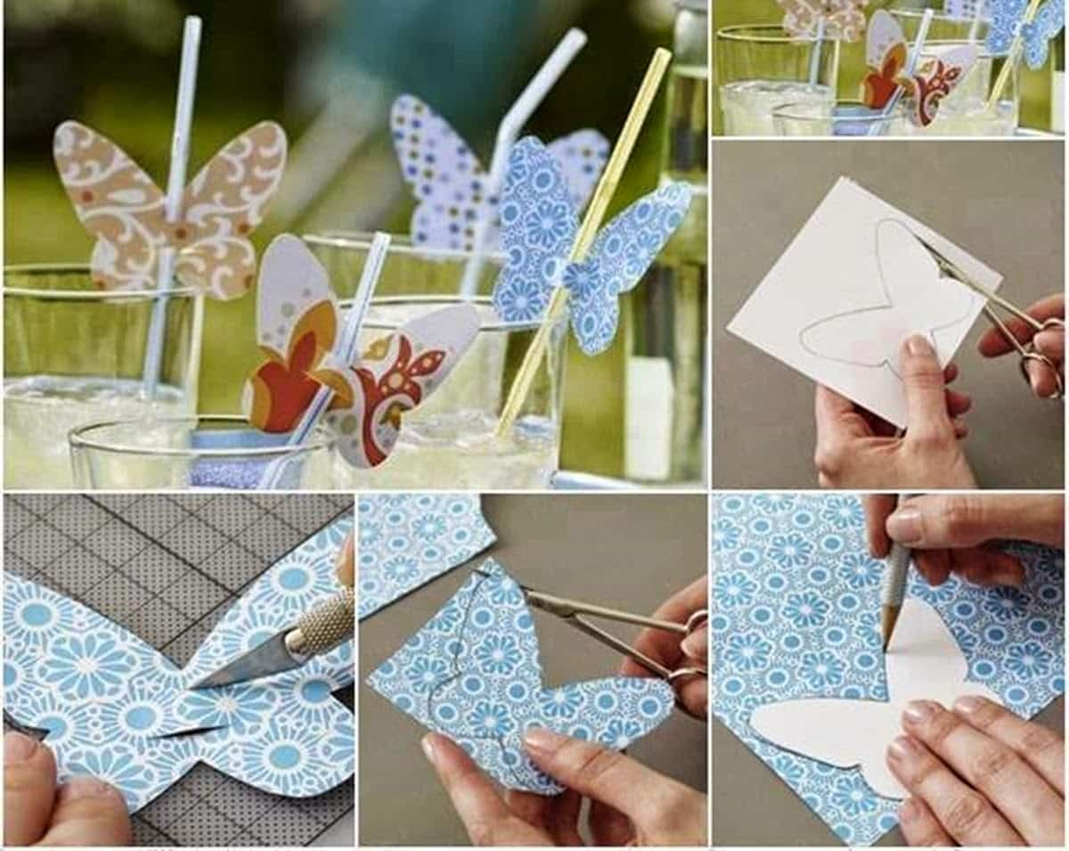 ideas para decorar los vasos de fiesta - mariposas