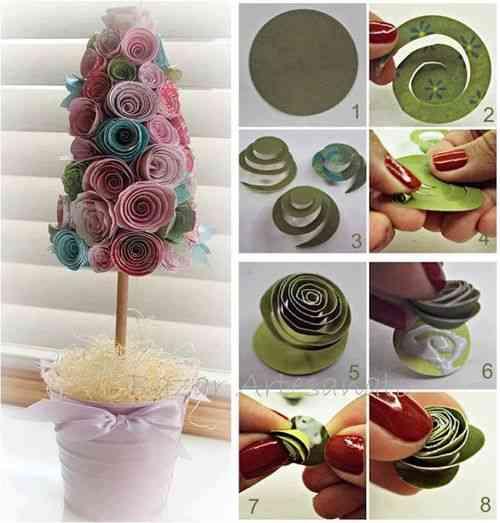 tutorial manualidad con flores de papel