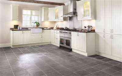 cocina con suelo gris