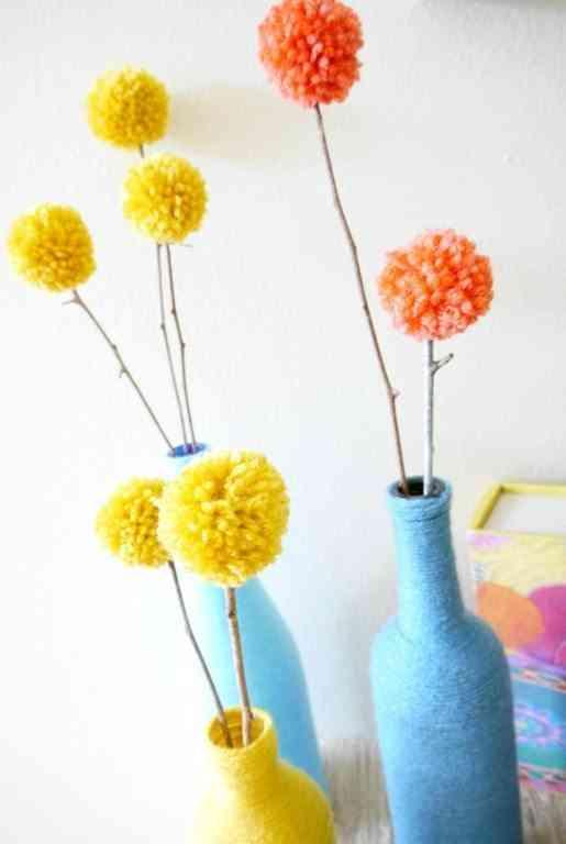 decorar con lana y pompones