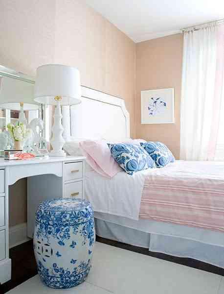 dormitorio en color rosa palo