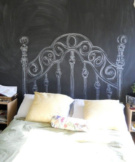 decorar dormitorios originales - cabecero en tiza
