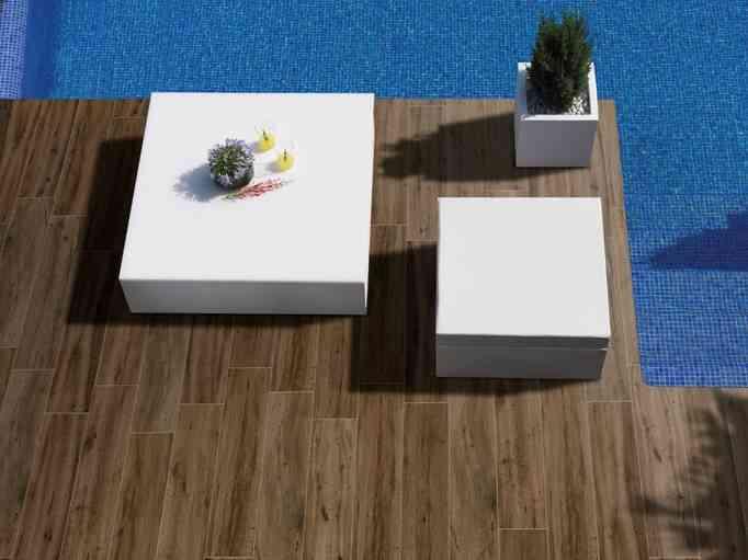 Decoraci n de exteriores pavimento porcel nico o de madera - Pavimento madera exterior ...