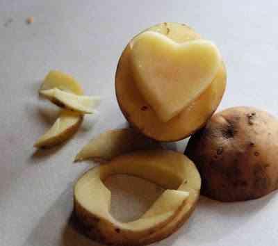 sello hecho con patata