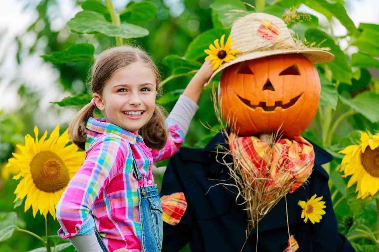 decorar tu jardin en Halloween - espantapajaros con calabaza