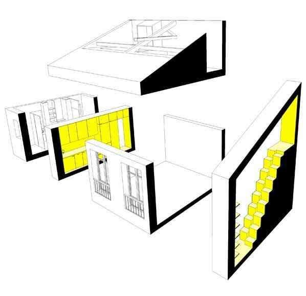 pequeño apartamento paris 35m -axonométrie