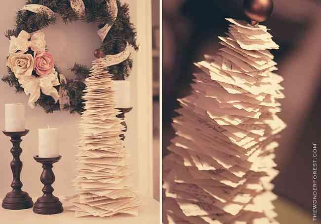 DIY - arbol de navidad de hojas de libro
