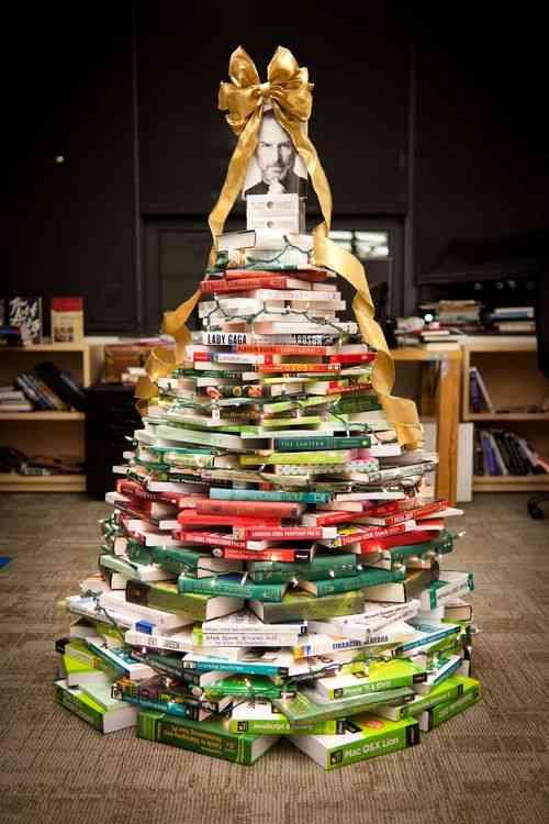 DIY - arbol de navidad de libros